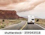 camper trailer on highway in... | Shutterstock . vector #359343518