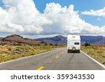 camper trailer on highway in... | Shutterstock . vector #359343530