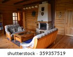 photos fireplace in the lodge   Shutterstock . vector #359357519