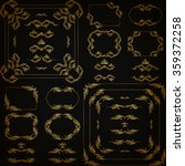 vector set of gold decorative... | Shutterstock .eps vector #359372258