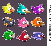 funny cartoon birds stickers ...
