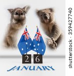 Small photo of Two Australian desk flags, koala and kangaroo. 26 January Australia Day greetings symbols isolated on white.