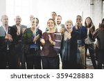 Stock photo business people team applauding achievement concept 359428883