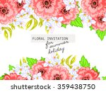 invitation with floral... | Shutterstock . vector #359438750