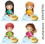 boy and girls eating at the... | Shutterstock .eps vector #359478794