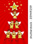 Children climb together to form a Christmas tree with a girl on top holding a star. Red background. - stock vector