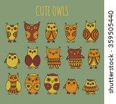 cute owls vector illustration.... | Shutterstock .eps vector #359505440