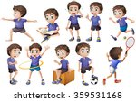 boy doing different activities... | Shutterstock .eps vector #359531168