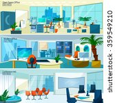 Office interiors horizontal banners set with conference hall and open space office with modern furniture vector illustration   | Shutterstock vector #359549210