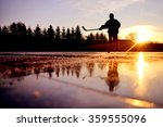 reflexion of young hockey... | Shutterstock . vector #359555096