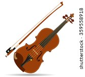 Vector Brown Violin And Bow...