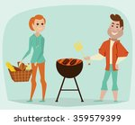 couple having a picnic. bbq... | Shutterstock .eps vector #359579399