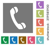call flat icon set on color...