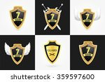 set of vector shields realistic ... | Shutterstock .eps vector #359597600