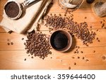 cup of coffee on the wooden... | Shutterstock . vector #359644400