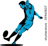 rugby player kicking goal | Shutterstock .eps vector #35965837