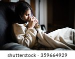 sick woman in bed calling in... | Shutterstock . vector #359664929
