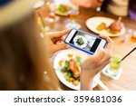 Stock photo woman photographing food by smartphone 359681036
