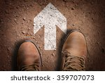 top view of boot on the trail... | Shutterstock . vector #359707073