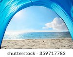 Blue Tent By The Shore In...