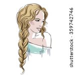 sketch of a beautiful girl with ... | Shutterstock .eps vector #359742746
