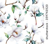 Watercolor Pattern Magnolia...
