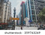 Small photo of PARIS, FRANCE - JULY 8, 2015: Centre Georges Pompidou (1977) was designed in style of high-tech architecture. It houses library, National Art Modern museum and IRCAM