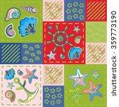 nautical marine patchwork... | Shutterstock . vector #359773190