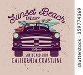 surfer's car illustration  t... | Shutterstock .eps vector #359774369