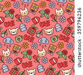 cute cartoon doodle pattern... | Shutterstock .eps vector #359796236