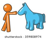 Orange Person With Blue Horse...