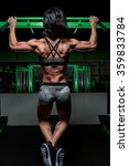 strong woman doing a pullup at... | Shutterstock . vector #359833784