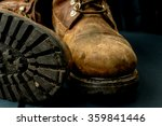 brown leather work boots on... | Shutterstock . vector #359841446