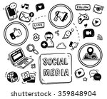 social media themed doodle... | Shutterstock .eps vector #359848904