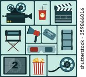 cinema icon set. making movie.... | Shutterstock . vector #359866016