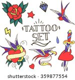 set of old school tattoo... | Shutterstock .eps vector #359877554
