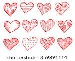 valentine day doodle hearts.... | Shutterstock .eps vector #359891114