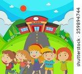 children standing in front of... | Shutterstock .eps vector #359894744