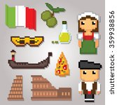 italy culture symbols icons set.... | Shutterstock .eps vector #359938856
