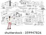 girl sketching infographs | Shutterstock . vector #359947826