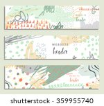 hand drawn set of three banners ... | Shutterstock .eps vector #359955740