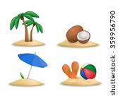 ball and slippers. coconuts.... | Shutterstock .eps vector #359956790
