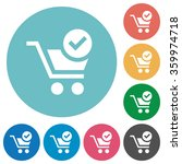 flat checkout icon set on round ...