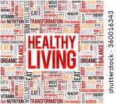 healthy living word cloud... | Shutterstock .eps vector #360016343
