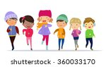 group of kids running | Shutterstock .eps vector #360033170