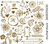 Hand Drawn floral ornaments with flowers and birds | Love elements