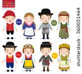 kids in traditional costume ... | Shutterstock .eps vector #360051464