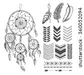 Hand Drawn Dream Catcher With...