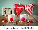 february 14th wooden vintage... | Shutterstock . vector #360060530