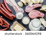 sources of saturated fats | Shutterstock . vector #360064298